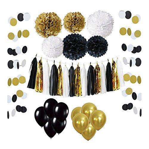 Wartoon 43 Pcs Paper Pom Poms Flowers Tissue Balloon Tassel Garland Polka Dot Paper Garland Kit for Birthday Wedding Party Decorations - Black and Gold