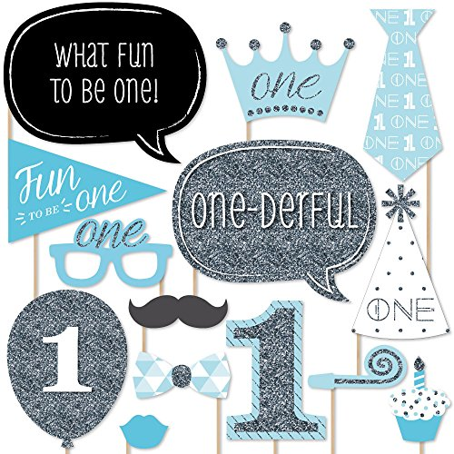 1st Birthday Boy - Fun to be One - Photo Booth Props Kit - 20 Count