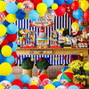 Carnival Circus Balloon Arch and Garland Kit - 105 Pack Red Blue Yellow Latex Balloons and Rainbow Multicolor Pre-Filled Confetti Balloon for Carnival Baby Shower Wedding Birthday Graduation Anniversary Bachelorette Party Background Decorations