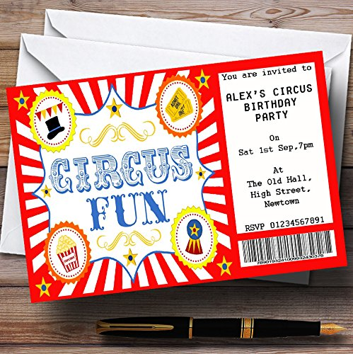 Red Circus Ticket Theme Personalized Birthday Party Invitations