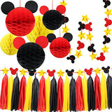 Mickey Mouse Party Decoration Kit, Colourful Mickey Paper Honeycomb Balls, Red Yellow & Black Tassel Garland and Tissue Paper Tassel Themed Pary Ideas