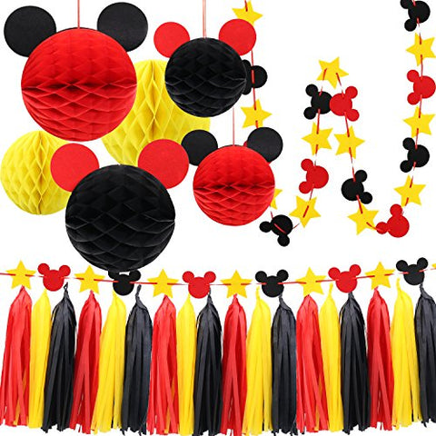 Mickey Mouse Party Decoration Kit Colourful Paper Honeycomb Ba Noahs Boytique