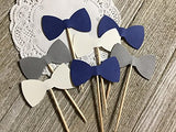 Navy Blue Grey and White Bowtie Cupcake Toppers - Food Picks - Party Picks - Baby Shower Toppers - Bow tie Toppers (Set of 24)