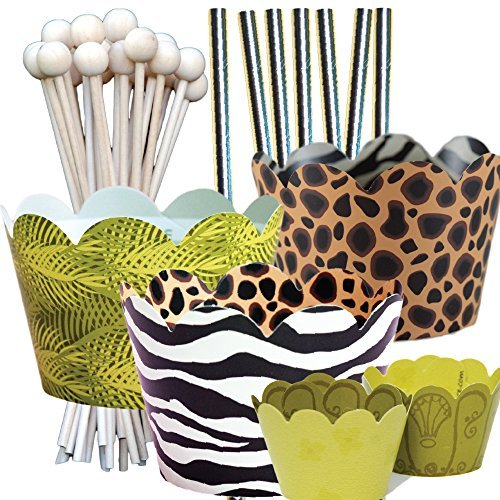Jungle Animal Print Theme Birthday Party Supplies Pack, Zoo, Zebra, Cheetah, Confetti Couture, 96 Piece Kit