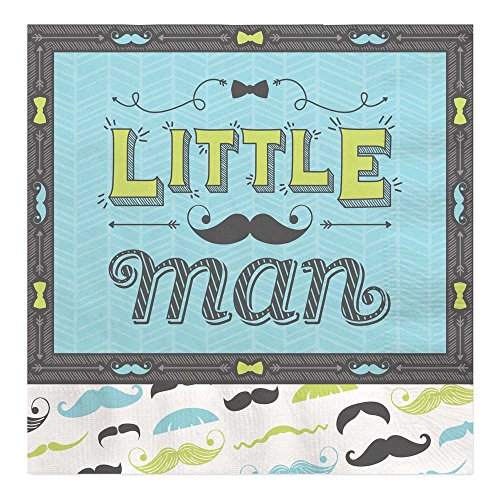 Dashing Little Man Mustache - Baby Shower or Birthday Party Tableware Plates, Cups, Napkins - Bundle for 16