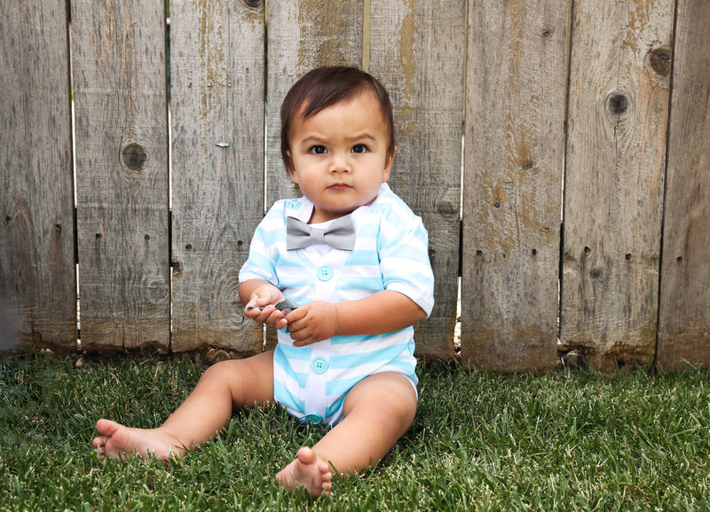 Baby Boy Cardigan Outfit with Bow Tie Aqua Blue and Grey - Preppy Baby Outfit - Short Sleeve - Baby Boy Clothes - Stripes - Summer - Spring - Cardigan Onesie - Noah's Boytique