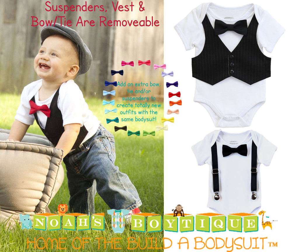 61eea5e943 Baby Boy Tuxedo Outfit Black Vest Black Bow Tie Newborn Infant Tux ...