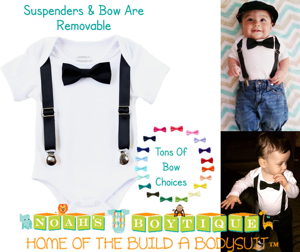 Black Noah's Boytique Bodysuit Suspenders - Snap On - Suspender Outfit - Baby Suspenders - Newborn Suspenders - Interchangeable
