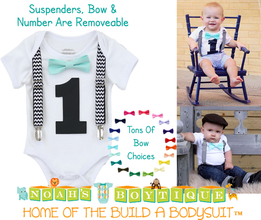 1st Birthday Outfit - Boys First Birthday Outfit - Black Number One - Chevron Suspenders - Aqua Bow Tie - Cake Smash - Birthday Shirt - Noah's Boytique  - Baby Boy First Birthday Outfit