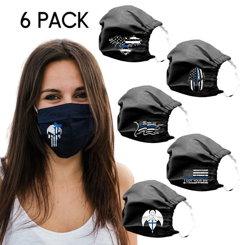 Blue Line Cotton Face Masks Washable Reuseable Law Enforcement American Flag USA Black punisher with bow women lady patriotic