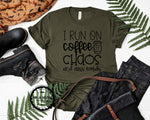 i run on coffee chaos and cuss words womens shirt fall shirt funny with sayings for moms graphic tee
