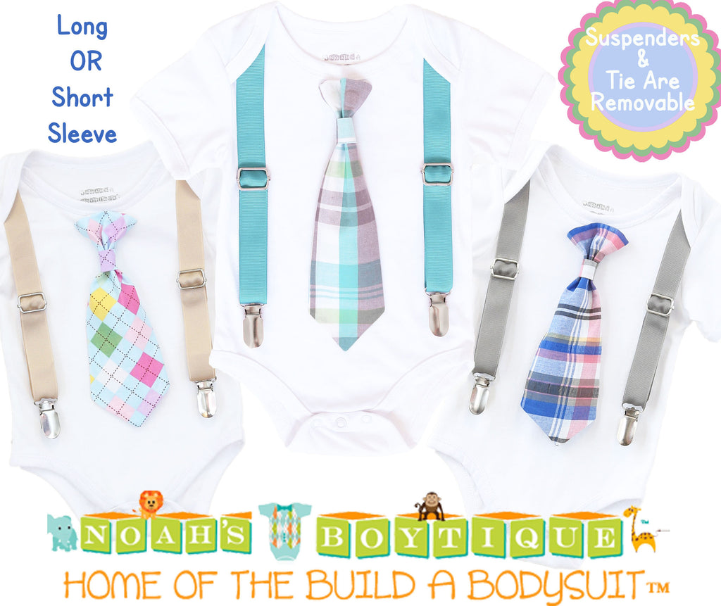 Baby Boy Easter Outfit - Easter Bunny Tie and Suspenders - Easter Outfit Newborn - First Easter - Easter Shirt - Toddler - Infant - Plaid