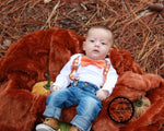 baby boy fall thanksgiving outfit argyle suspenders orange bow tie onsesie thanksgiving
