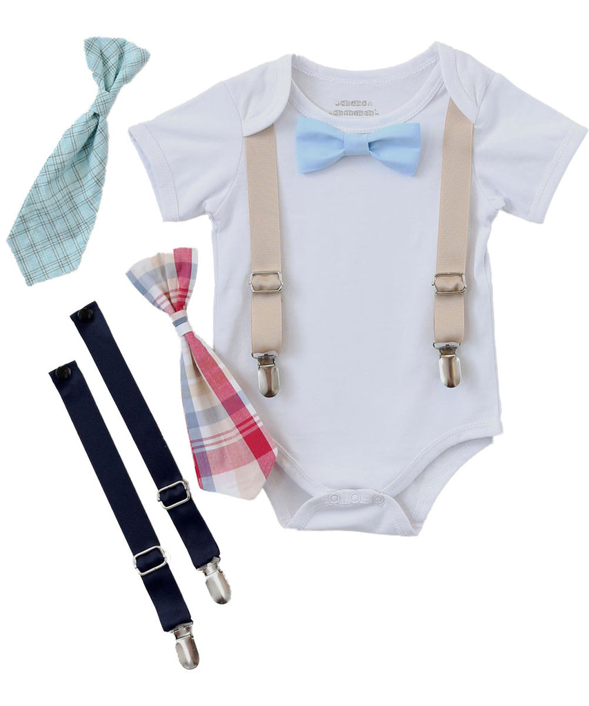 Baby Boy Clothes - Baby Gift Set - Baby Shower Gift - Newborn Gift - Bow Tie - Newborn Bow Tie - Vest - Plaid - Tan - Khaki - Baby Shirt - Toddler