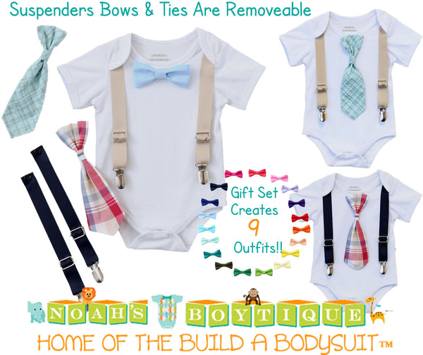Baby Boy Gift - New Baby Present - Newborn Baby Boy - Cute Outfits for Boys - Ties and Suspenders - Baby Bow Ties - Gift Set - Baby Clothes - Noah's Boytique Bodysuit - Baby Boy First Birthday Outfit