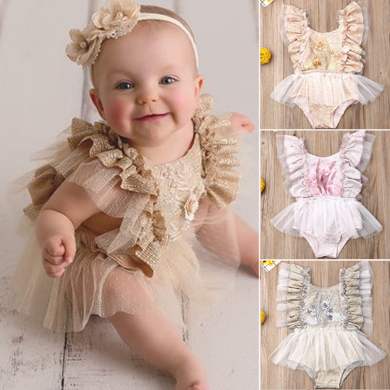 Baby girl chiffon romper ruffle lace detail feminine first birthday outfit tutu romper