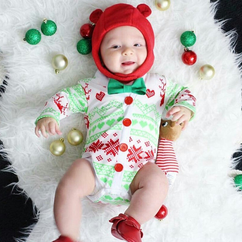 baby boy christmas cardigan ugly sweater outfit reindeer print