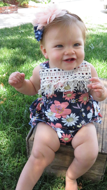 Baby Girl Floral Romper - Floral Print Baby Clothes - Headband - Baby Girl Outfits - Baby Girl Summer Outfits - Vintage Rompers - Newborn Girl - Baby Girl Clothes - Ruffle Bottoms - Bloomers - Colorful - Summer - Navy - Peach - Lace
