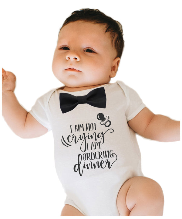 Cute Funny baby boy onesie with saying and black bow tie newborn coming home from the hospital outfit baby shower gift boy