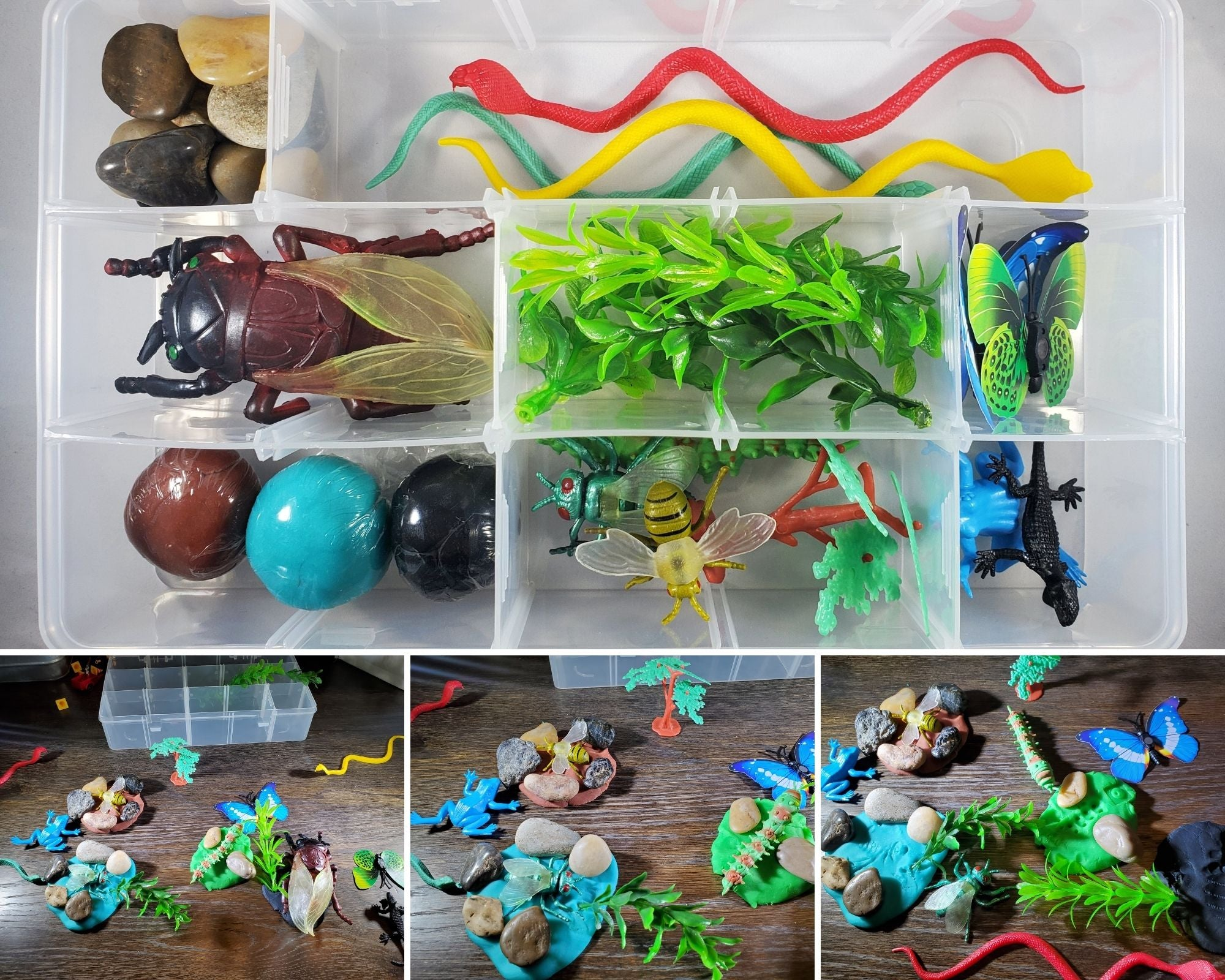 Insects Bugs and Critters Play Dough Sensory Bin Kit Playdough Box Gift for Boys