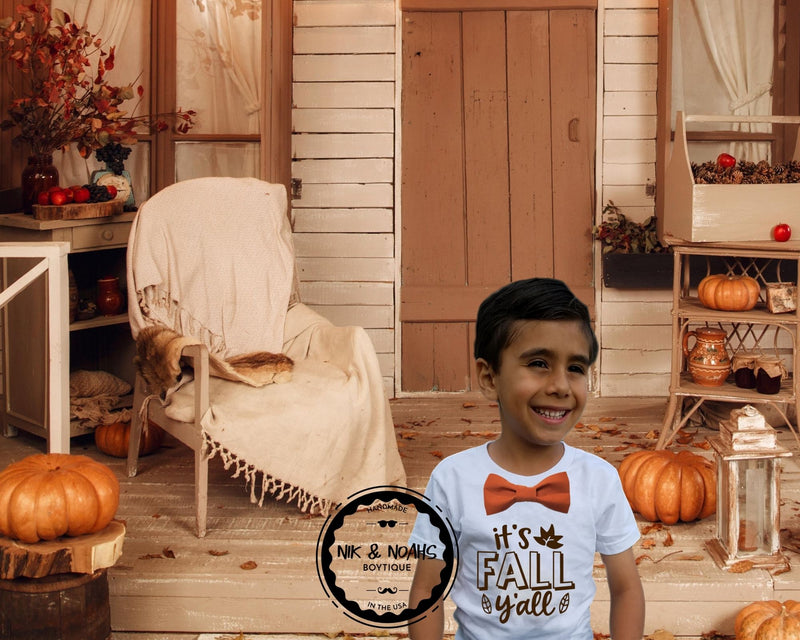 Boys it's fall ya'll shirt with bow tie cute thanksgiving shirts for boys