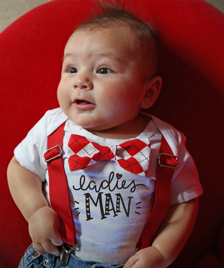 baby boy valentines outfit bow tie onesie red argyle ladies man shirt suspenders cute baby boy clothes