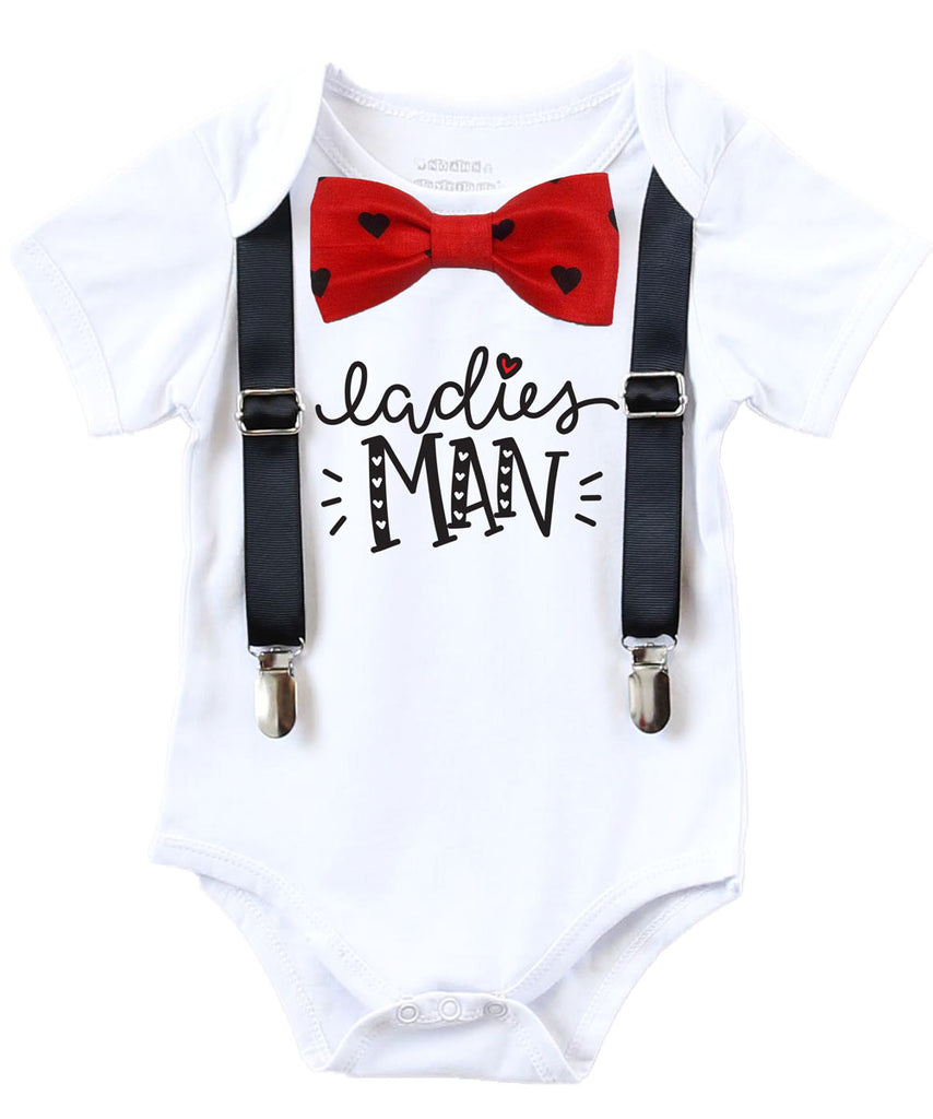 Valentines Day Outfit Baby Boy Heart Bow Tie Ladies Man Noah S