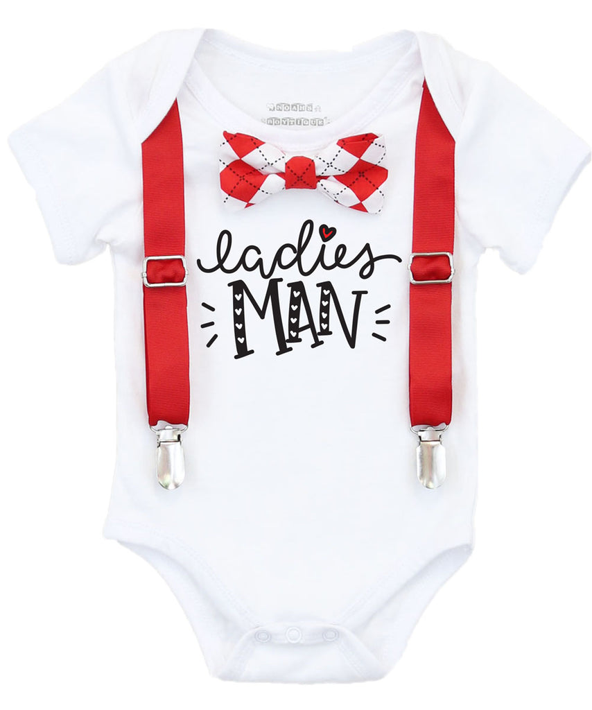 baby boy valentines outfit bow tie onesie red argyle ladies man shirt suspenders cute baby boy