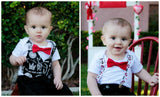 Baby Boy Valentines Day Outfit - Valentine's Day Shirt - Newborn Boy - Toddler Boy - Love Mom - Tie and Suspenders - First Valentines Day - Newborn Valentines Day - Hearts - Mustaches - Noah's Boytique - CupcakeMag