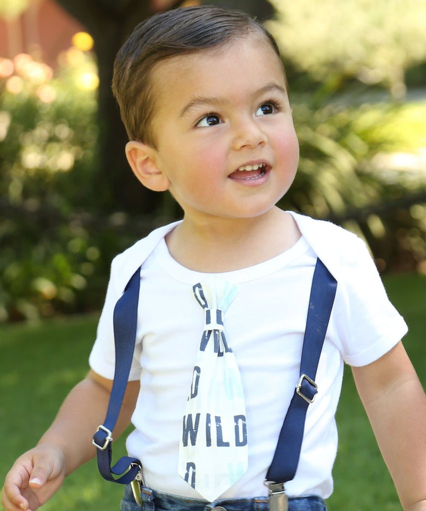 Wild One First Birthday Outfit Baby Boy Coming Home Gray Mint Navy Tie And