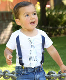 Wild One First Birthday Outfit Baby Boy Coming Home Outfit Gray Mint Navy Boy Tie and Suspenders - Baby Shower Gift for Baby Boy - Newborn Coming Home Outfit Mint Coming Home Onesie Noah's Boytique Tie Onesie