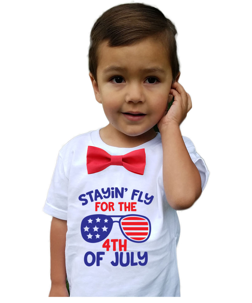 Fourth of July Shirt Toddler Boy God Bless America Memorial Day Patriotic Red Bow Tie Stars Stripes Proud to Be An American Onesie Stayin Fly