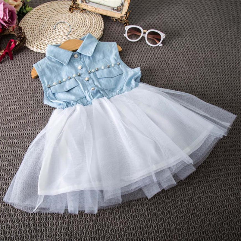 Toddler Baby Kid Girl Princess Party Clothes Denim Sleeveless Tulle Tutu Dresses Country Rustic