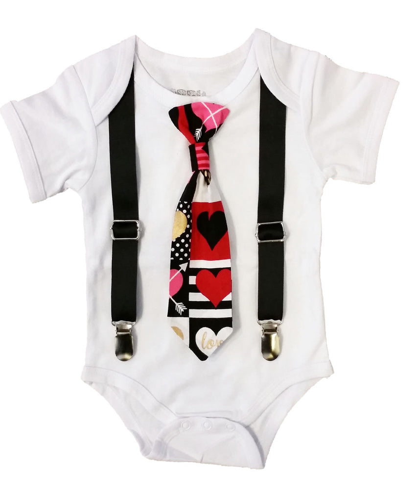 Baby Boy Valentine s Day Outfit Heart Print Tie and