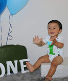 Airplane Birthday Party Outfit - First Birthday - Hot Air Balloon - 1st Birthday - Plane Theme - Airplane - Plane Shirt - Aqua - Lime - Noah's Boytique  - Baby Boy First Birthday Outfit