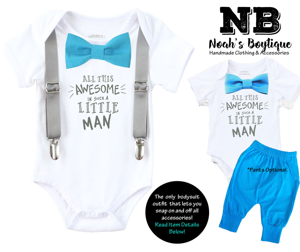 5529730cbd9b7 Newborn Boy Coming Home Outfit Blue and Grey All That Awesome