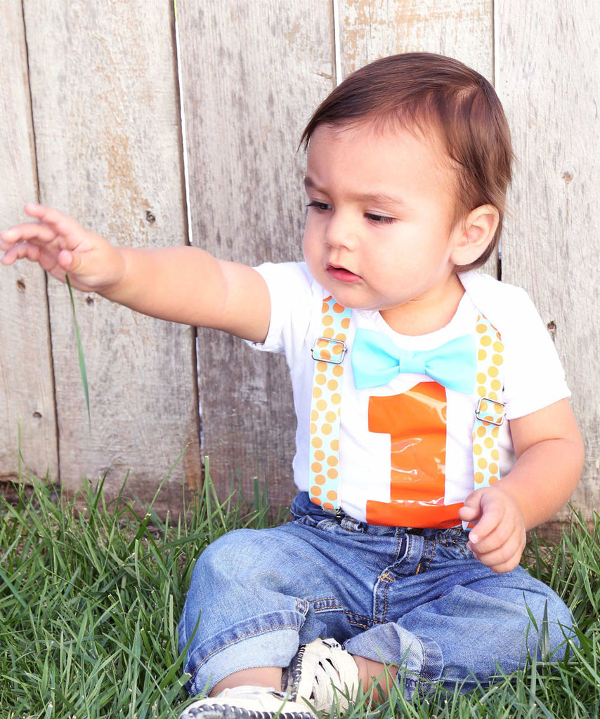 288a416488d6 First Birthday Outfit Boy Aqua and Orange Dots Bow Tie and ...