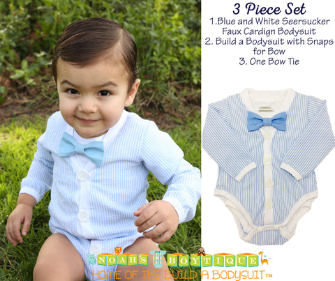 Baby Boy Easter Shirt Navy Cardigan with Blue and White Bow Tie