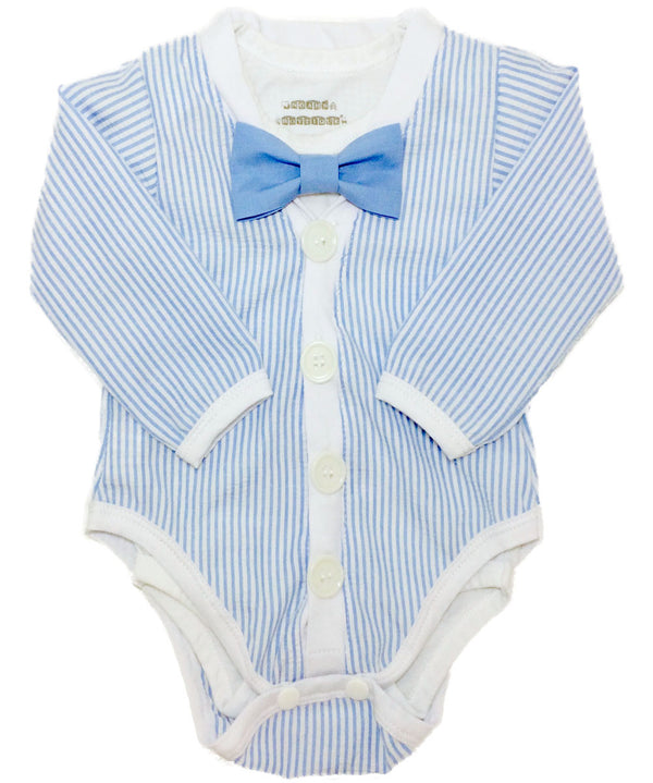 Baby Boy Easter Outfit - Easter Cardigan with Bow Tie - Light Blue Seersucker - First Easter - Cute Easter Outfits - Easter Shirt - Bunny - Cardigan Onesie with Bow Tie - Noah's Boytique