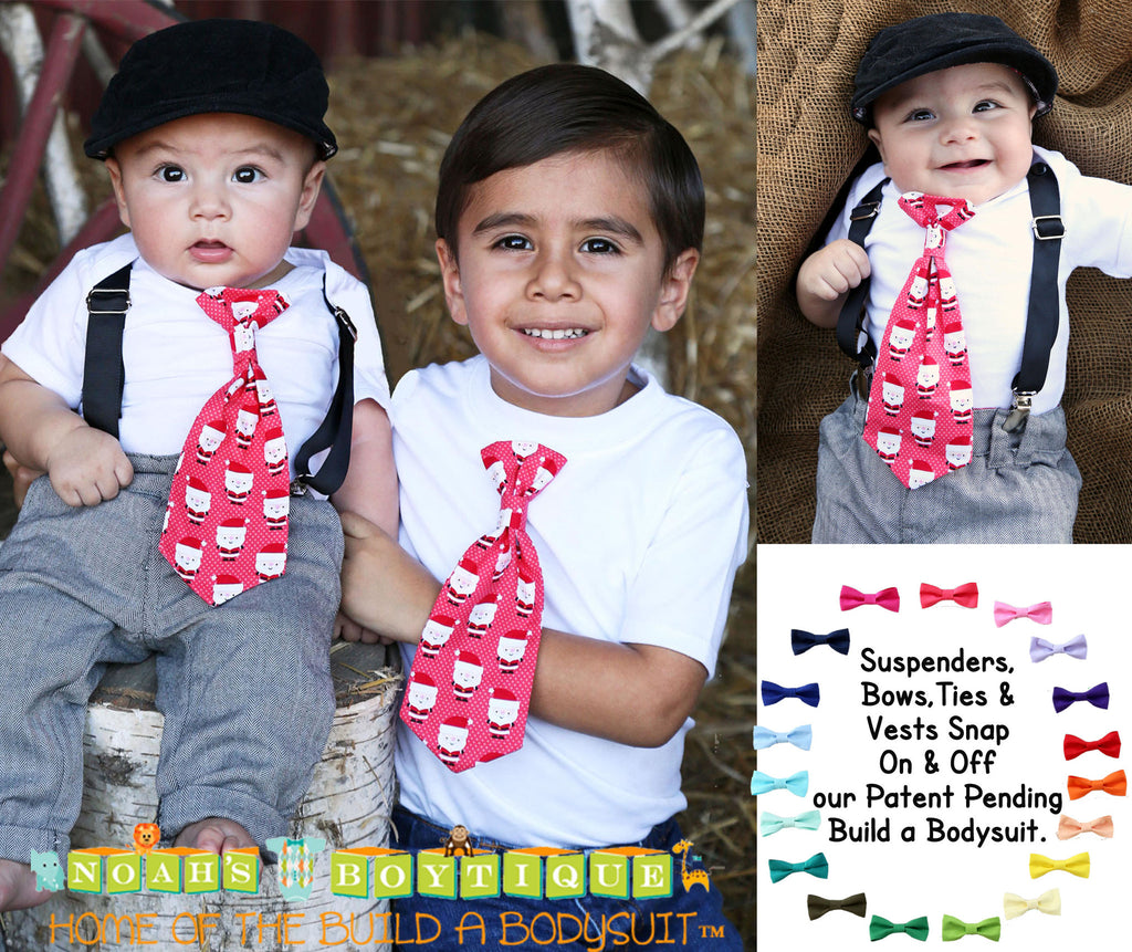 ... Baby Boy Christmas Outfit - Christmas Outfits for Boys Santa Tie with  Suspenders - First Christmas ... fedda51f9