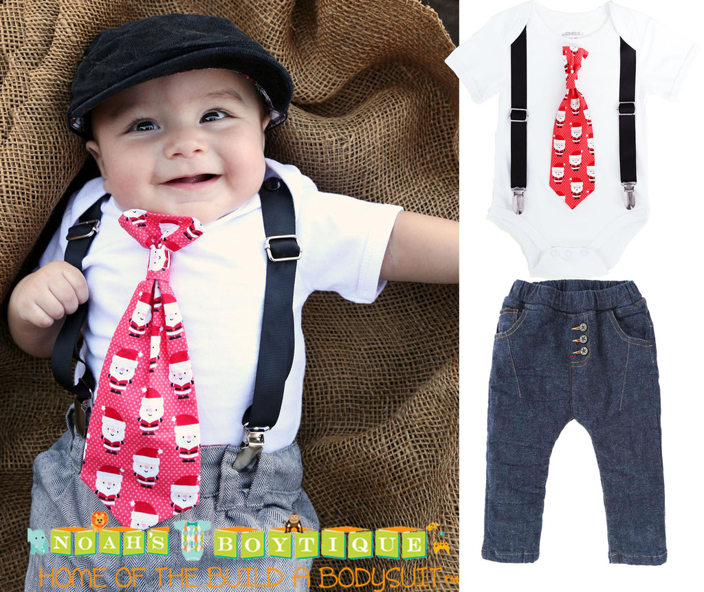 Christmas Outfit Baby Boy Santa Tie Suspenders with Jean Pants Set ...