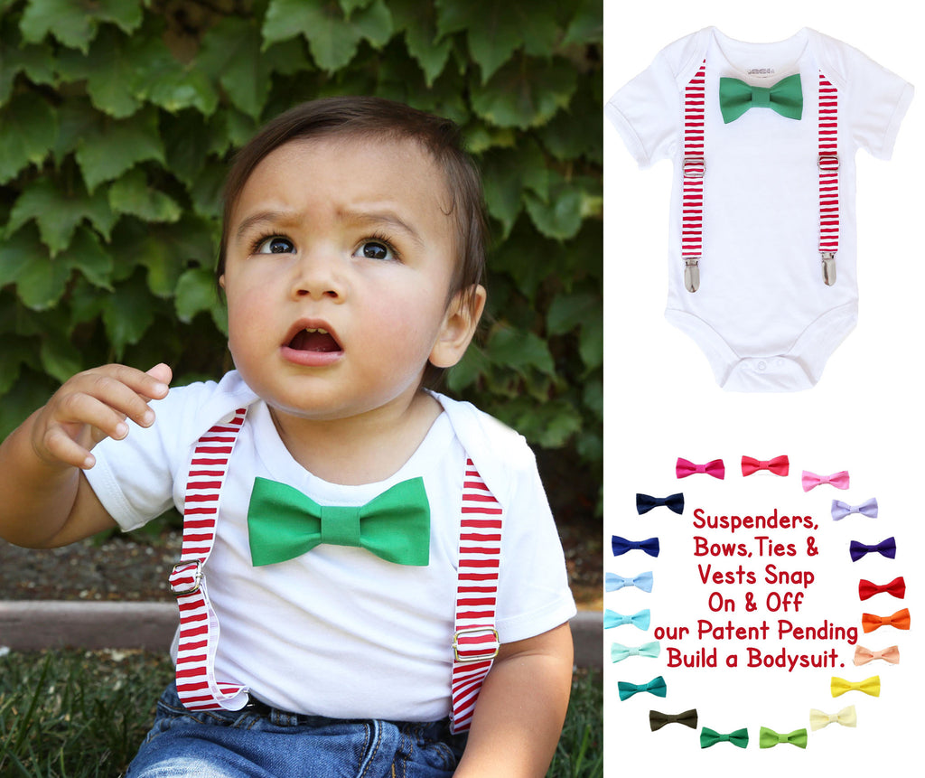 Christmas Outfits for Boys Red White Suspenders Green Bow Tie ...