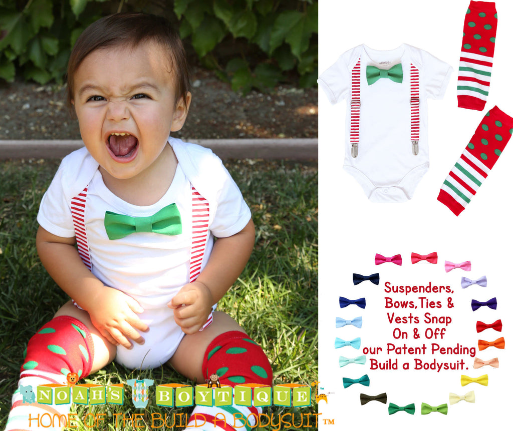 ... Baby Boy Outfit for Christmas - Santa Picture Outfit - Suspenders Bow Tie - Legwarmers ...  sc 1 st  Noahu0027s Boytique & Christmas Outfits for Boys Red White Suspenders Bow Tie Legwarmers ...