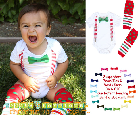 Toddler Boy Easter Outfit with Teal Plaid Tie and Teal Suspenders