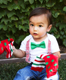 Baby Boy Outfit for Christmas - Santa Picture Outfit - Suspenders Bow Tie - Legwarmers - Newborn - Toddler - 1st Christmas - Christmas Card