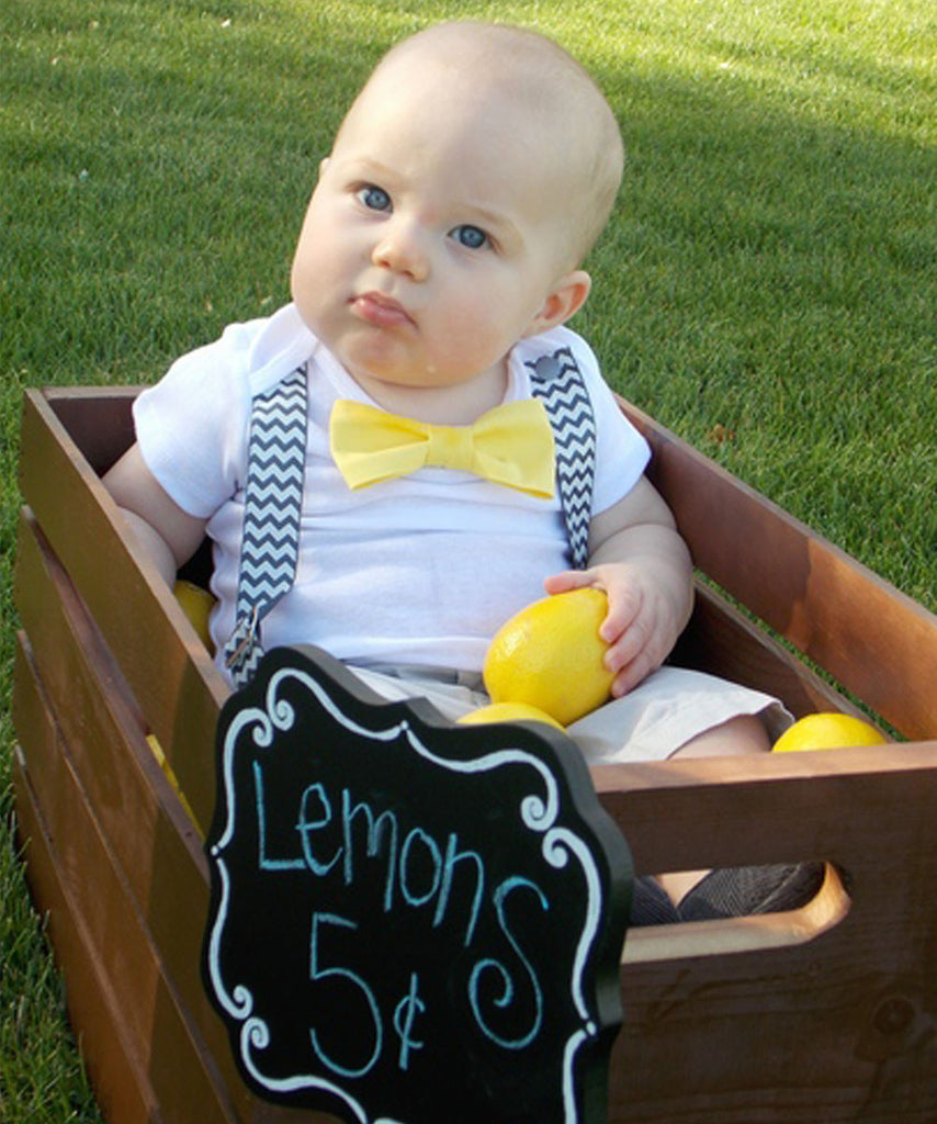 Grey and Yellow Baby Boy Clothes - Baby Boy Outfits - Grey Chevron Suspenders Yellow Bow Tie - Lemons - Lemonade Stand - Spring - Noah's Boytique - CupcakeMag