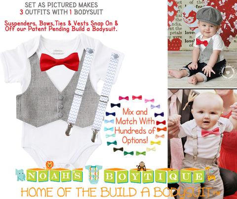 Baby Boy Gift - New Baby Present - Newborn Baby Boy - Cute Outfits for Boys - Ties and Suspenders - Baby Bow Ties - Gift Set - Baby Clothes