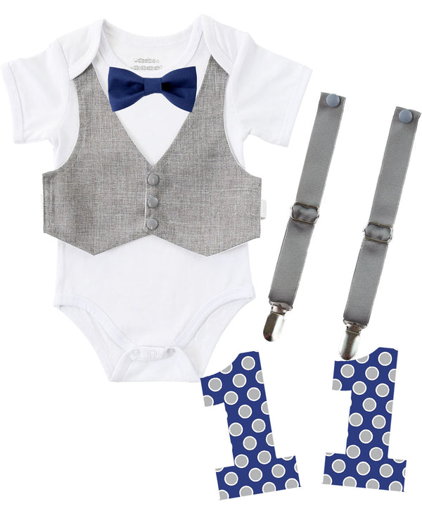 Baby Boy Clothes Light Grey Vest Suspender Navy Bow Tie Set First Birthday