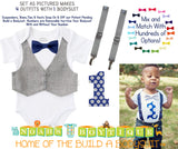 1st Birthday Outfit Boy - Boys First Birthday Outfit - Baby Boy Suspender Outfit - Grey Vest Red Navy Bow Tie Chevron Suspenders - Bundle