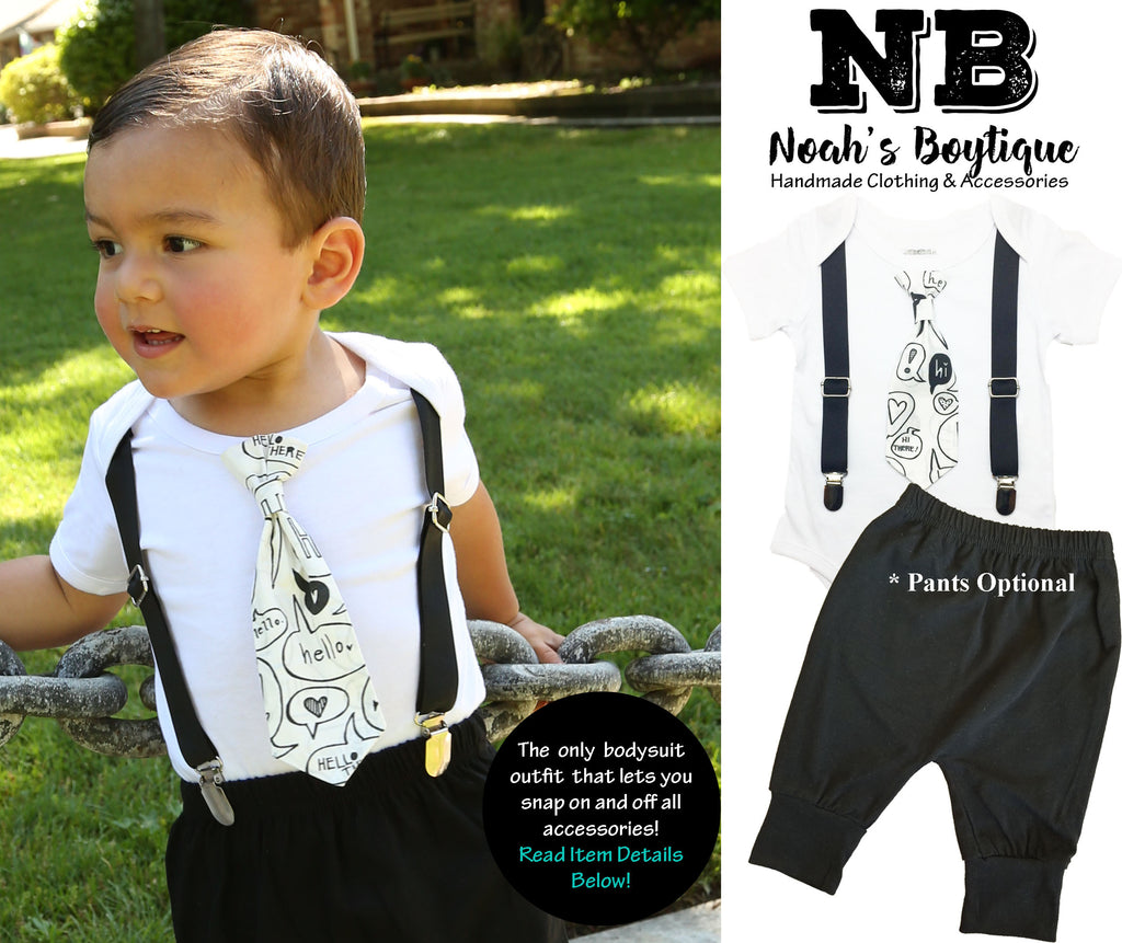 Coming Home Outfit Baby Boy Hello Hi Black and White - Take Home Hospital Outfit Newborn - Hipster Newborn Boy Clothes - Tie and Suspenders - Monochrome black and white coming home onesie